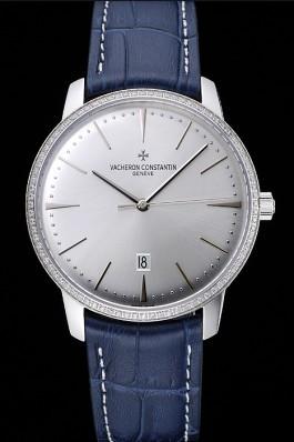 Swiss Vacheron Constantin Patrimony Silver Dial Silver Diamonds Case Blue Leather Bracelet 1454161 Replica Vacheron Constantin
