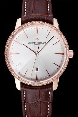 Swiss Vacheron Constantin Patrimony White Dial Rose Gold Diamonds Case Brown Leather Bracelet 1454170 Replica Vacheron Constantin