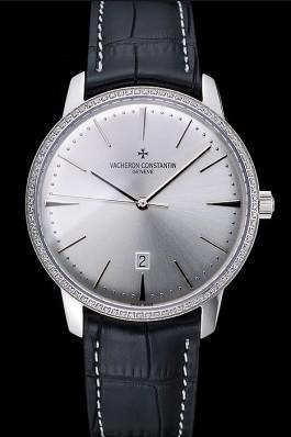 Swiss Vacheron Constantin Patrimony White Dial Silver Diamonds Case Black Leather Bracelet 1454162 Replica Vacheron Constantin