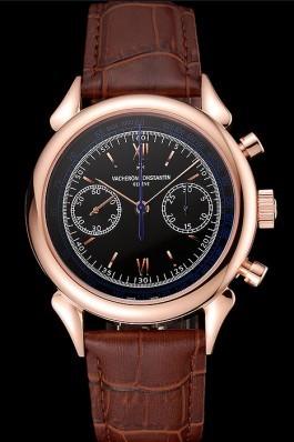 Swiss Vacheron Constantin Traditionnelle Chronograph Black Dial Gold Case Brown Leather Bracelet 1453995 Replica Vacheron Constantin