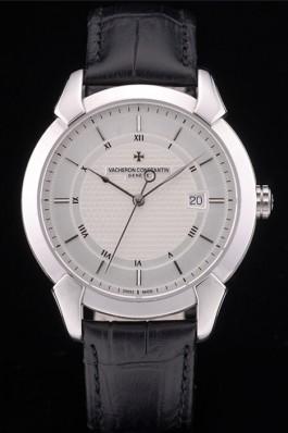 Swiss Vacheron Constantin Traditionnelle White Dial Roman Numerals Black Leather Bracelet  Replica Vacheron Constantin