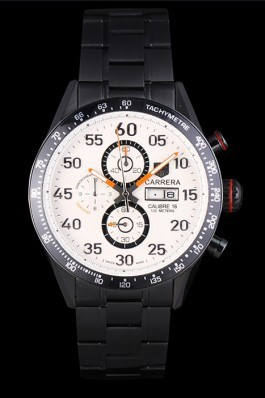 Tag Heuer Carrera Ion Plated Stainless Steel Bracelet White Dial 801444 Tag Heuer Replica
