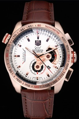 Tag Heuer Carrera Rose Gold Case White Dial Brown Leather Strap 98244 Tag Heuer Replica