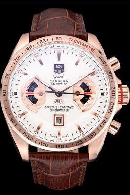 Tag Heuer Carrera Rose Gold Case White Dial Brown Leather Strap 98245 Tag Heuer Replica