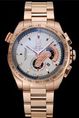 Tag Heuer Carrera Rose Gold Case White Dial Tag Heuer Replica