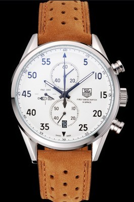 Tag Heuer Carrera SpaceX-7 White Dial Silver Stainless Steel Case Brown Suede Strap  Tag Heuer Replica