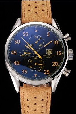 Tag Heuer Carrera SpaceX Silver Bezel with Black Dial and Light Brown Leather Strap tag264 621535 Tag Heuer Replica