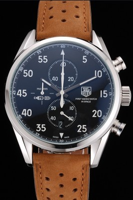 Tag Heuer Carrera SpaceX Silver Bezel with Black Dial and Light Brown Leather Strap tag265 621536 Tag Heuer Replica