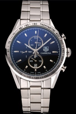 Tag Heuer Carrera Tachymeter Bezel Black Dial Stainless Steel Strap Tag Heuer Replica