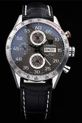 Tag Heuer Swiss Carrera Tachymeter Bezel Black Leather Strap Checkered Brown Dial Tag Heuer Replica