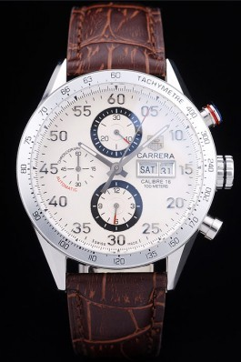 Tag Heuer Swiss Carrera Tachymeter Bezel Dark Brown Leather Strap White Dial Tag Heuer Replica