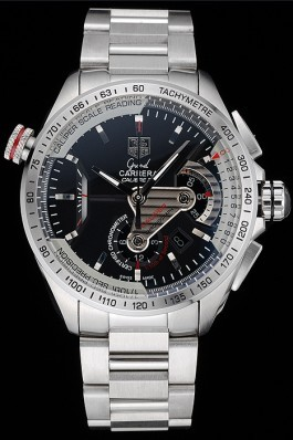Tag Heuer Swiss Carrera Tachymeter Bezel Stainless Steel Black Dial Tag Heuer Replica