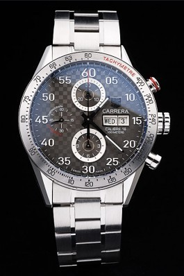 Tag Heuer Swiss Carrera Tachymeter Bezel Stainless Steel Checkered Brown Dial Tag Heuer Replica