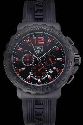Tag Heuer Formula 1 Chronograph Black Dial Black Bezel Red Numerals 622408 Replica Tag Formula 1