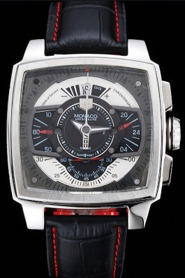 Tag Heuer Monaco Black-Green Perforated Leather Strap Black Dial 80308 Perfect Tag Heuer Replica