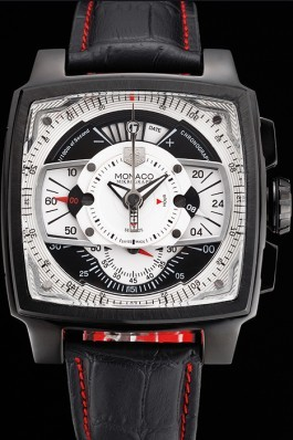 Tag Heuer Monaco Black-Red Perforated Leather Strap White Dial 80307 Perfect Tag Heuer Replica