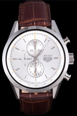 Tag Heuer SLR Brushed Stainless Steel Case Silver Dial Brown Leather Strap Aaa Tag Heuer Replica