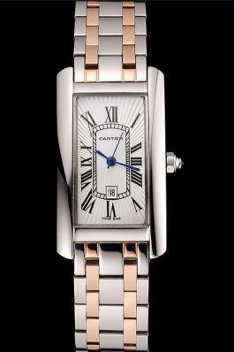Cartier Tank Americaine 21mm White Dial Stainless Steel Case Two Tone Bracelet Cartier Replica