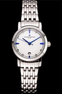 Vacheron Constantin Fine White Dial Blue Marks Stainless Steel Case And Bracelet Replica Vacheron Constantin