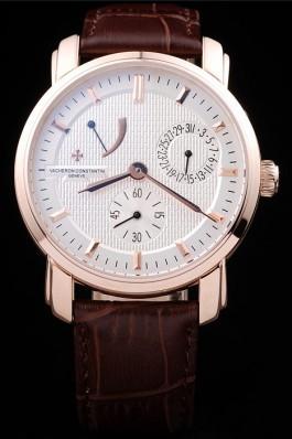 Brown Leather Band Top Quality Vacheron Rose Gold Luxury Watch 5488 Replica Vacheron Constantin
