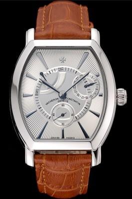 Vacheron Constantin Malte White Dial Stainless Steel Case Brown Leather Bracelet  Replica Vacheron Constantin