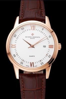 Vacheron Constantin Patrimony Chronometre Royal White Dial Rose Gold Case Brown Leather Strap  Replica Vacheron Constantin