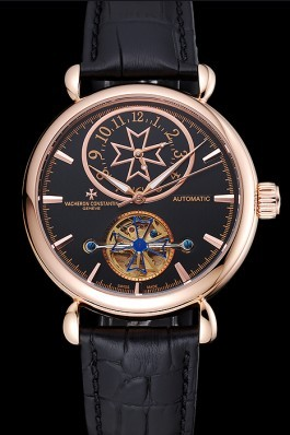 Vacheron Constantin Traditionnelle Tourbillon Black Dial Gold Case Black Leather Bracelet 1454060 Replica Vacheron Constantin