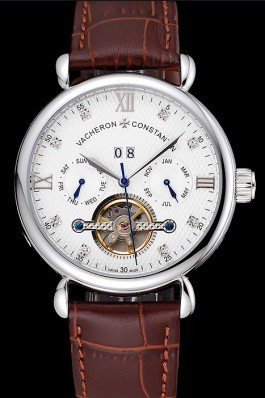 Vacheron Constantin Traditionnelle Tourbillon White Dial Diamond Numerals Brown Leather Bracelet 1454064 Replica Vacheron Constantin