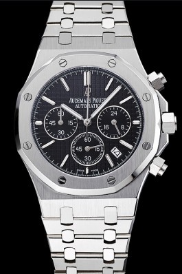 Audemars Piguet Royal Oak Chronograph Black Dial Stainless Steel Bracelet 1454025 Piguet Replica