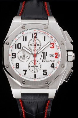 Audemars Piguet Royal Oak Offshore Shaquille O'Neal White Dial Stainless Steel Case Black Leather Strap Audemars Piguet Royal Oak Replica Aaa