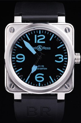 Black Rubber Band Top Quality BR01-92 Dial Limited Edition Luxury Watch 4198 Bell Ross Replica For Sale