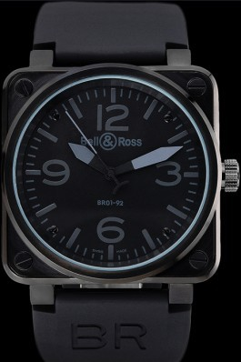 Black Rubber Band Top Quality Black & Ross Luxury Ion-plated Steel Watch 4241 Bell Ross Replica For Sale