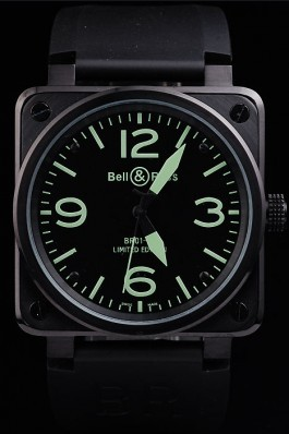 Black Rubber Band Top Quality Carbon-Green Steel Luxury Watch 4189 Bell Ross Replica For Sale