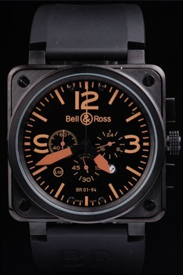 Black Rubber Band Top Quality Ross Carbon-Orange Ion-plated Luxury Watch 4191 Bell & Ross Replica