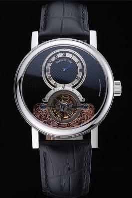 Breguet Classique Grande Complication Tourbillon Silver Case Black Dial Black Leather Strap 622212 Breguet Replica