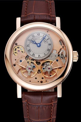 Breguet Tradition Grey Dial Gold Case Brown Leather Bracelet 1454031 Breguet Replica