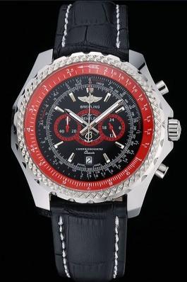 Breilting Bentley Supersports Black And Red Dial Black Leather Bracelet 622430 Fake Breitling Bentley