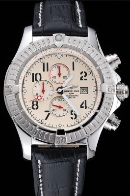 Black Leather Band Top Quality Breitling Stainless Steel Black Luxury Watch 4044 Breitling Replicas
