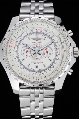 Breitling Bentley Chronograph White Dial Stainless Steel Strap Fake Breitling Bentley