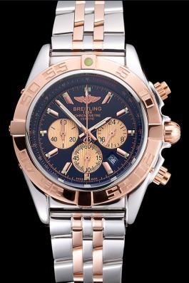 Breitling Chronomat Black Dial Rose Gold Bezel And Subdials Stainless Steel Case Two Tone Bracelet Breitling Chronomat