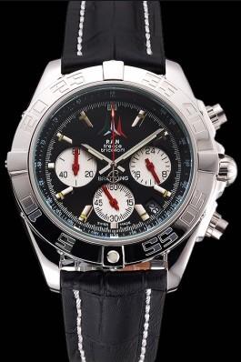 Breitling Chronomat Frecce Tricolori Black Dial Stainless Steel Case Black Leather Strap Breitling Chronomat