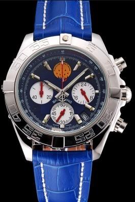 Breitling Chronomat Frecce Tricolori Blue Dial Stainless Steel Case Blue Leather Strap Breitling Chronomat