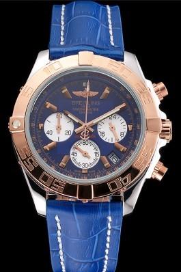 Breitling Chronomat Patrouille De France Blue Dial Stainless Steel Case Blue Leather Strap Breitling Chronomat