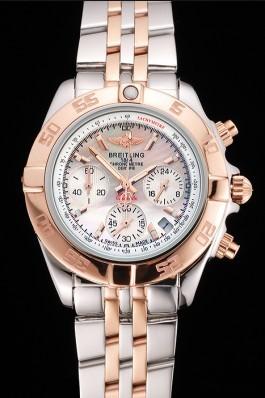 Breitling Chronomat Quartz Pearl Dial Rose Gold Bezel Stainless Steel Case Two Tone Bracelet Breitling Chronomat
