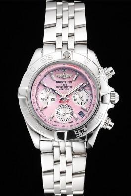 Breitling Chronomat Quartz Pink Dial Stainless Steel Case And Bracelet Breitling Chronomat