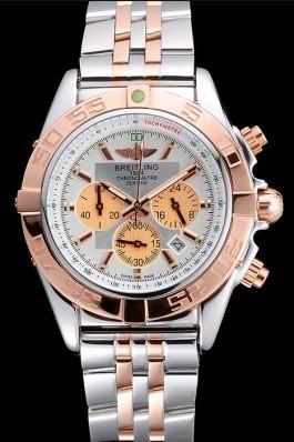 Breitling Chronomat White Dial Rose Gold Bezel And Subdials Stainless Steel Case Two Tone Bracelet Breitling Chronomat