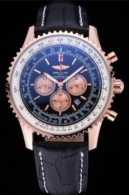 Breitling Navitimer 01 Black Dial Rose Gold Case Black Leather Bracelet 622503 Replica Designer Watches