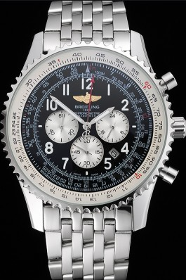 Breitling Navitimer Black Dial White Subdials Stainless Steel Case And Bracelet Replica Designer Watches