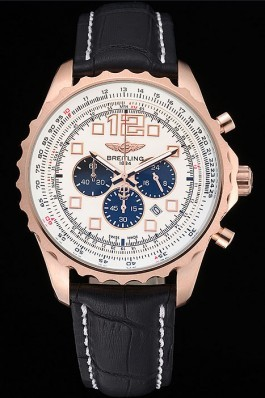 Breitling Navitimer Rosegold Bezek Leather Strap White Dial Replica Designer Watches