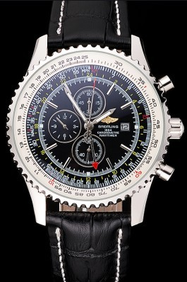 Breitling Navitimer World Black Dial Black Leather Bracelet 622513 Replica Designer Watches
